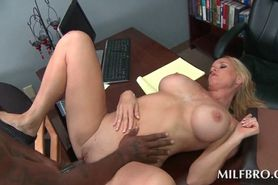 MILF on knees eating black cock and getting nailed on t