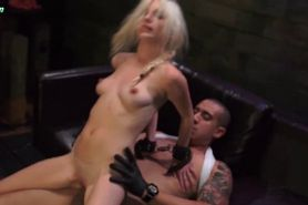 Blonde hooker jumps in massive dick