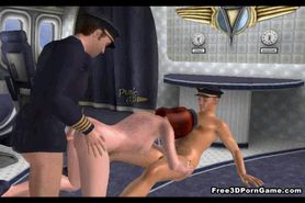 Hot 3D redhead stewardess gets double teamed