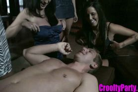Group of Girls Dominating and Sucking a Cock
