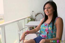 Cute brunette teen shows off body