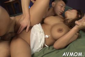 Three guys and one horny asian slut