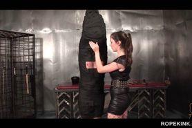 Hot mistress gives her sex slave a good spank