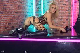 Bimbo Jenna Hoskins chat on TV 4 boots & lingerie