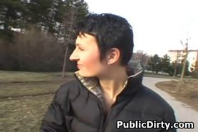 Short Haired Brunette Public Blowjob
