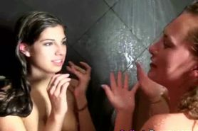 Slutty College Bimbos Playing Together In Shower