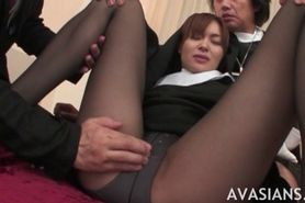 Asian nun in stockings takes in her ass