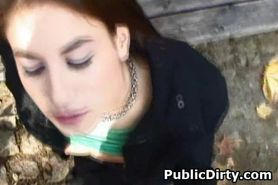 Girl On Knees Takes Facial In Public