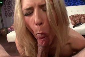 Sleppy blonde pleasuring hard shaft