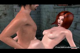 Foxy 3D redhead hottie gets fucked in a jail cell