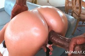 Big ass brunette takes a whole black dick