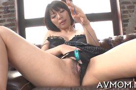 Horny asian milf enjoys cock