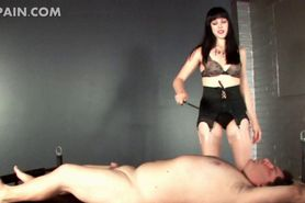 Lusty mistress spanking and submitting cock to torture