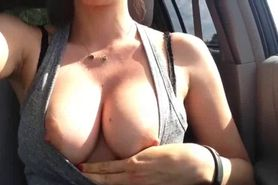 Flashing boobs driving
