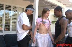 Sasha Swift double fucked by black dudes