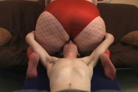 BBW facesitting red panty & red fishnet part 2