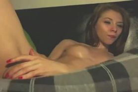 Doing anal with her dildo on webcam