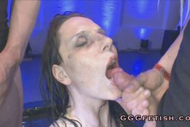 Girls gets pissing and cumshots in the mouth