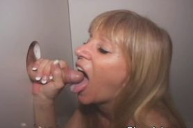 Blonde Taking Facial At A Glory Hole