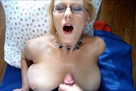Hot mama with glasses takes his cum