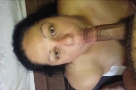 Chocolate babe blowjob and facial