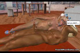 Tasty 3D cartoon blonde babe sucking on a cock