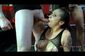 Brunette with piercing gets fucking with pissing