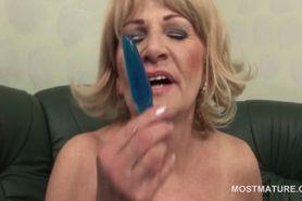 Horny mature slut self fucking with sex toys