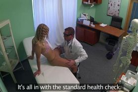 Blonde with no panties fucking doctor in office