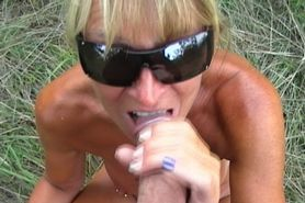 Public blowjob from a pierced girl