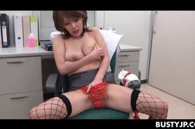Horny jap lady doctor licks her boobs and masturbates c