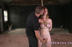 Tied up redhead sub cunt fingered and fucked