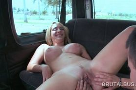 Chesty blonde humping large dick in sex bus