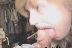 Mature Crack Whore Slurps On Dick