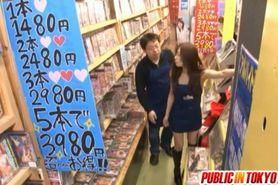 Yuu gives blowjob at sex shop