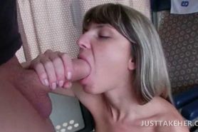 Blonde nympho can't wait to get home and fucks in a tra