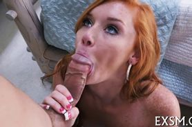 Shaved pussy receives hot ramming