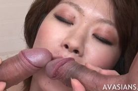 Jap teacher slut fucked  by two cocks at same time