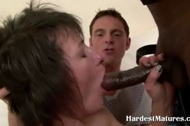 Hardcore mature slut fucks two
