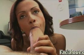 Amateur brunette gives a handjob and gets fucked