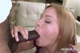 Cute redhead sucks and tit fucks black schlong