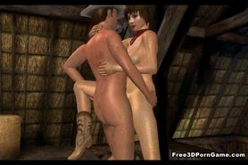 Short haired 3D cartoon babe gets fucked in a barn