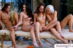 Horny babes massage and lesbian sex orgy