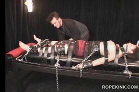 BDSM sex slave gagged and bonded gets cunt tortured