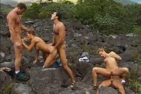 Rita Judith and 3 guys outdoors