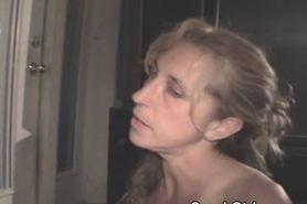 Blonde Crack Whore Slurps Down Cum