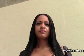 Beautiful Latina takes black cock pov in public