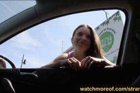 Cutie Dani Desire jizzed in the backseat
