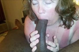 Horny wife sucking a BBC