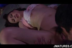 Turned on Asian mature chick given cunnilingus at campi